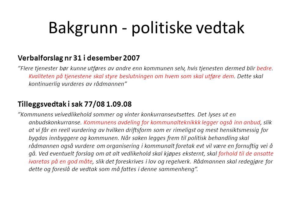 Bakgrunn - politiske vedtak Verbalforslag nr 31 i desember 2007 Flere tjenester bør kunne utføres av andre enn kommunen selv, hvis tjenesten dermed blir bedre.