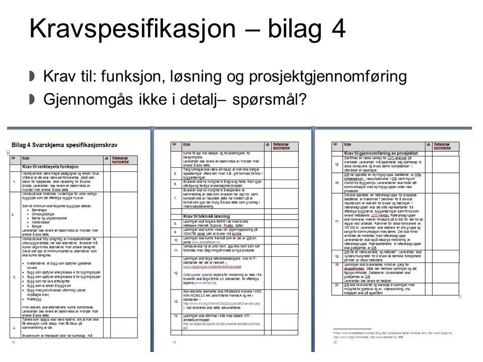 Kravspesifikasjon – bilag 4 Krav til: funksjon, løsning og prosjektgjennomføring Gjennomgås ikke i detalj– spørsmål? Direktoratet for forvaltning og I