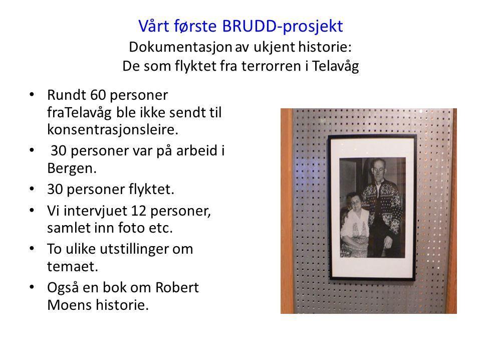 Vårt første BRUDD-prosjekt Dokumentasjon av ukjent historie: De som flyktet fra terrorren i Telavåg Rundt 60 personer fraTelavåg ble ikke sendt til konsentrasjonsleire.