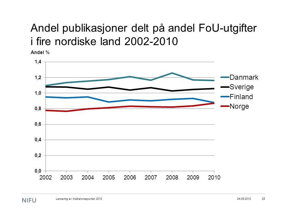 Andel publikasjoner delt på andel FoU-utgifter i fire nordiske land 2002-2010 24-09-2012Lansering av Indikatorrapporten 201228