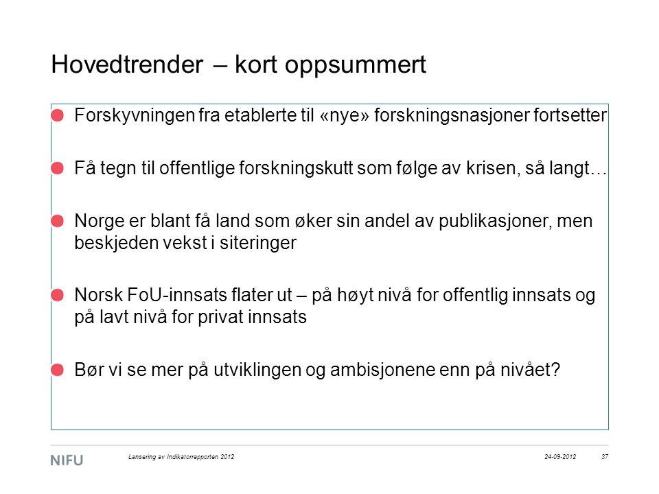 Hovedtrender – kort oppsummert Forskyvningen fra etablerte til «nye» forskningsnasjoner fortsetter Få tegn til offentlige forskningskutt som følge av krisen, så langt… Norge er blant få land som øker sin andel av publikasjoner, men beskjeden vekst i siteringer Norsk FoU-innsats flater ut – på høyt nivå for offentlig innsats og på lavt nivå for privat innsats Bør vi se mer på utviklingen og ambisjonene enn på nivået.