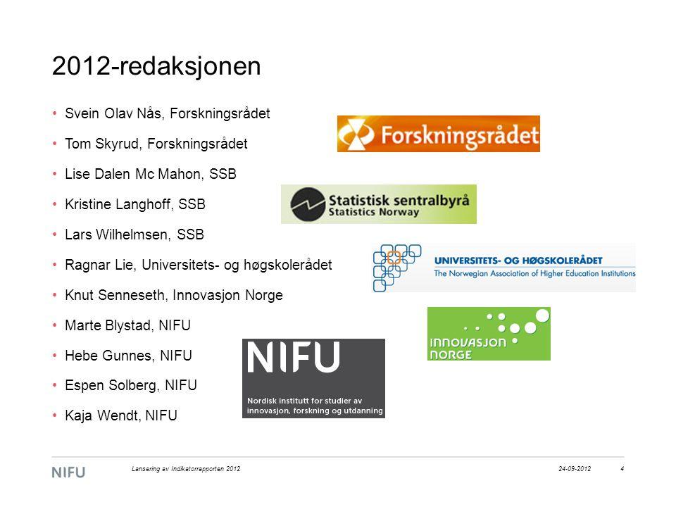 2012-redaksjonen Svein Olav Nås, Forskningsrådet Tom Skyrud, Forskningsrådet Lise Dalen Mc Mahon, SSB Kristine Langhoff, SSB Lars Wilhelmsen, SSB Ragn
