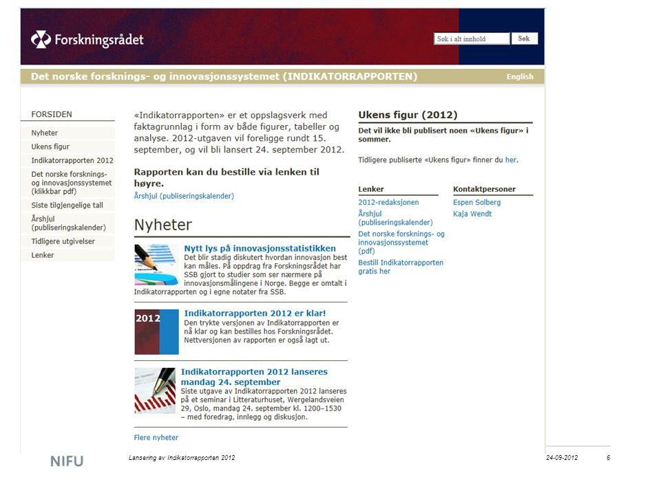 24-09-2012Lansering av Indikatorrapporten 20126