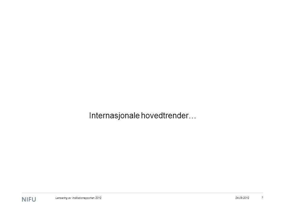 Internasjonale hovedtrender… 24-09-20127Lansering av Indikatorrapporten 2012