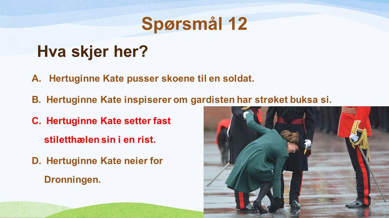 Hva skjer her. A. Hertuginne Kate pusser skoene til en soldat.