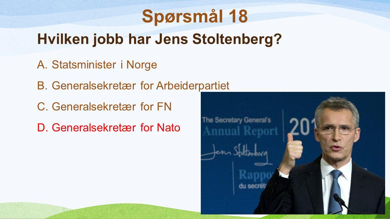 Hvilken jobb har Jens Stoltenberg.