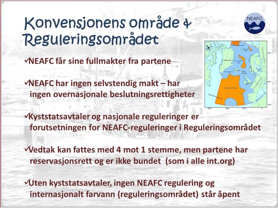 Konvensjonens område & Reguleringsområdet NEAFC får sine fullmakter fra partene NEAFC har ingen selvstendig makt – har ingen overnasjonale beslutningsrettigheter Kyststatsavtaler og nasjonale reguleringer er forutsetningen for NEAFC-reguleringer i Reguleringsområdet Vedtak kan fattes med 4 mot 1 stemme, men partene har reservasjonsrett og er ikke bundet (som i alle int.org) Uten kyststatsavtaler, ingen NEAFC regulering og internasjonalt farvann (reguleringsområdet) står åpent