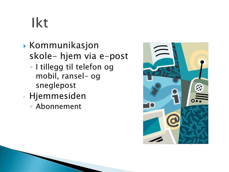  Kommunikasjon skole- hjem via e-post ◦ I tillegg til telefon og mobil, ransel- og sneglepost ◦ Hjemmesiden ◦ Abonnement
