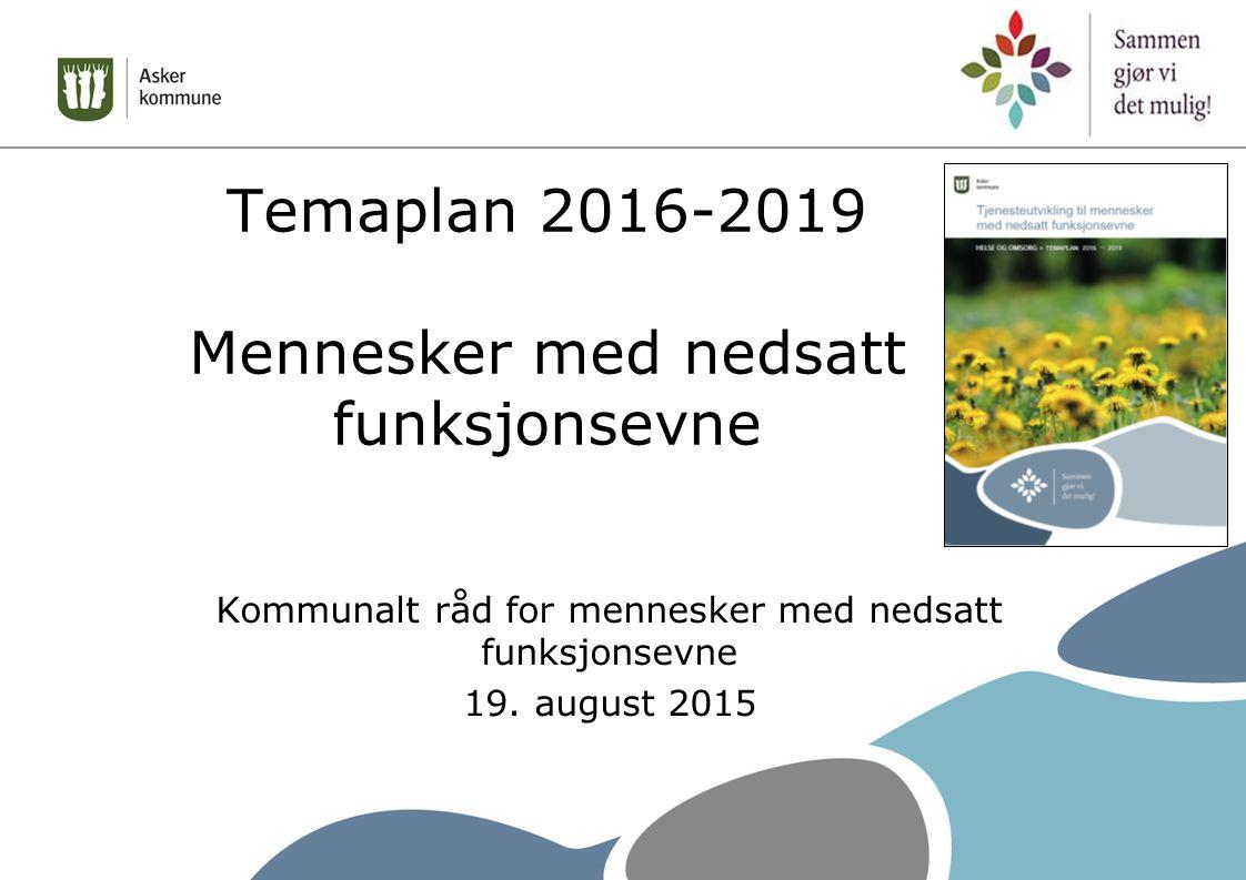 Temaplan 2016-2019 Mennesker med nedsatt funksjonsevne Kommunalt råd for mennesker med nedsatt funksjonsevne 19.