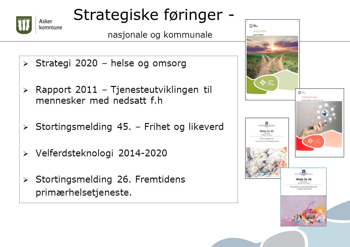 Strategiske føringer - nasjonale og kommunale  Strategi 2020 – helse og omsorg  Rapport 2011 – Tjenesteutviklingen til mennesker med nedsatt f.h  Stortingsmelding 45.