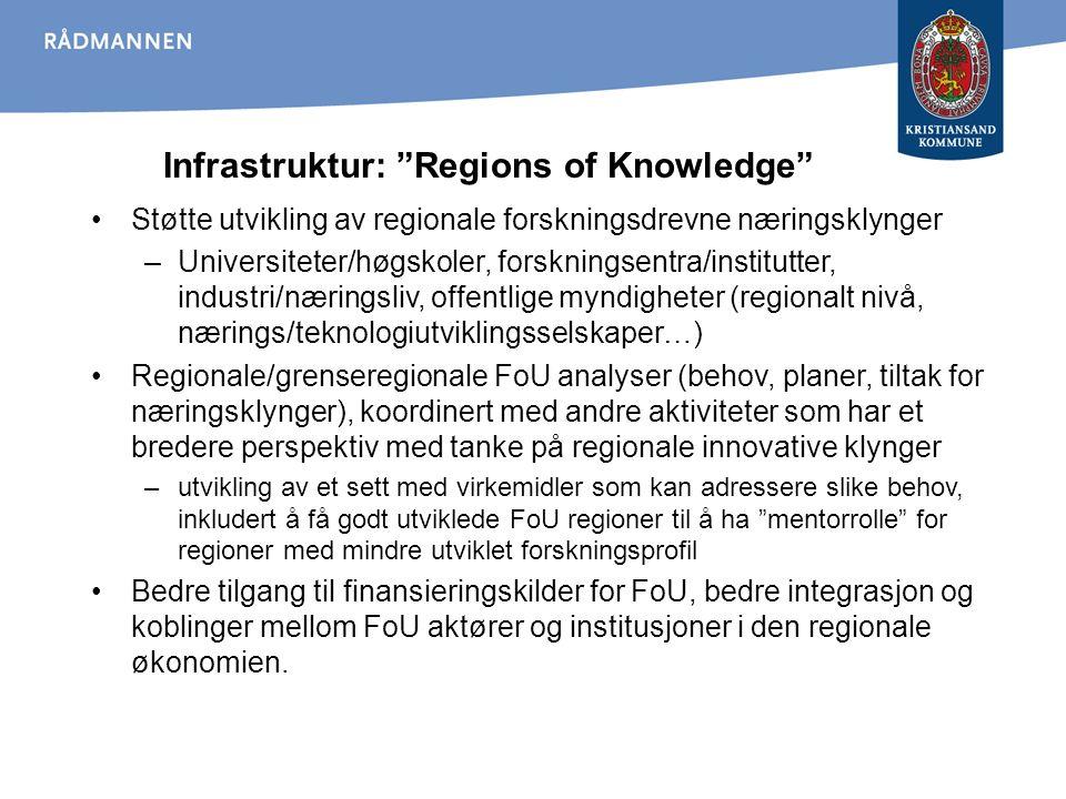Infrastruktur: Regions of Knowledge Støtte utvikling av regionale forskningsdrevne næringsklynger –Universiteter/høgskoler, forskningsentra/institutter, industri/næringsliv, offentlige myndigheter (regionalt nivå, nærings/teknologiutviklingsselskaper…) Regionale/grenseregionale FoU analyser (behov, planer, tiltak for næringsklynger), koordinert med andre aktiviteter som har et bredere perspektiv med tanke på regionale innovative klynger –utvikling av et sett med virkemidler som kan adressere slike behov, inkludert å få godt utviklede FoU regioner til å ha mentorrolle for regioner med mindre utviklet forskningsprofil Bedre tilgang til finansieringskilder for FoU, bedre integrasjon og koblinger mellom FoU aktører og institusjoner i den regionale økonomien.