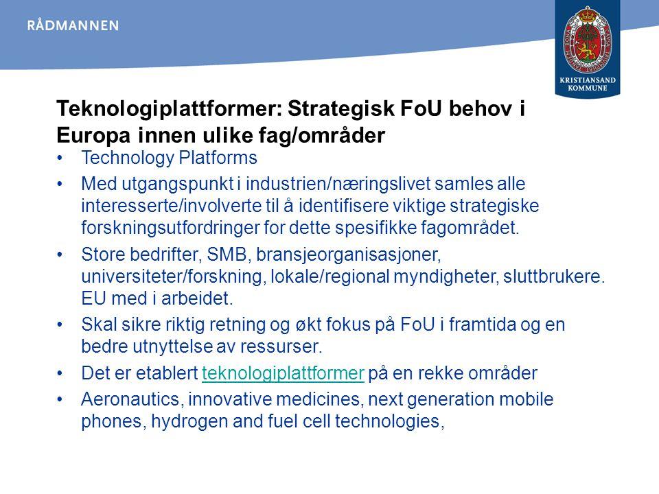 Teknologiplattformer: Strategisk FoU behov i Europa innen ulike fag/områder Technology Platforms Med utgangspunkt i industrien/næringslivet samles alle interesserte/involverte til å identifisere viktige strategiske forskningsutfordringer for dette spesifikke fagområdet.