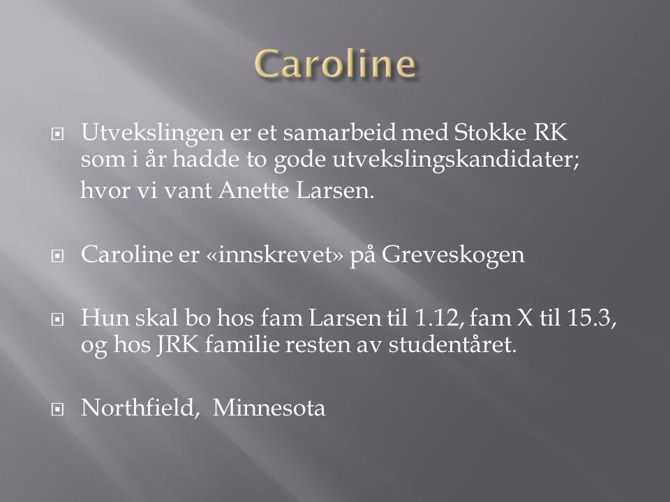  Utvekslingen er et samarbeid med Stokke RK som i år hadde to gode utvekslingskandidater; hvor vi vant Anette Larsen.  Caroline er «innskrevet» på G