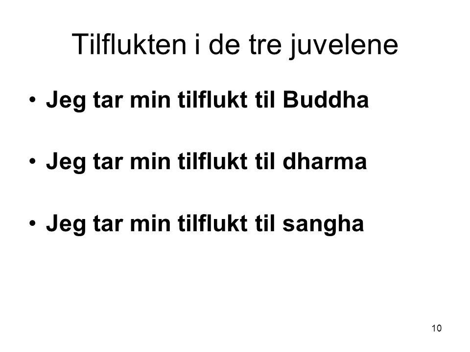 10 Tilflukten i de tre juvelene Jeg tar min tilflukt til Buddha Jeg tar min tilflukt til dharma Jeg tar min tilflukt til sangha