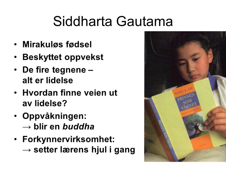 11 Siddharta Gautama Mirakuløs fødsel Beskyttet oppvekst De fire tegnene – alt er lidelse Hvordan finne veien ut av lidelse.