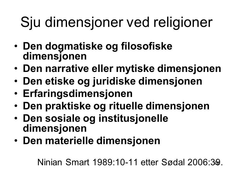 49 Sju dimensjoner ved religioner Den dogmatiske og filosofiske dimensjonen Den narrative eller mytiske dimensjonen Den etiske og juridiske dimensjonen Erfaringsdimensjonen Den praktiske og rituelle dimensjonen Den sosiale og institusjonelle dimensjonen Den materielle dimensjonen Ninian Smart 1989:10-11 etter Sødal 2006:39.