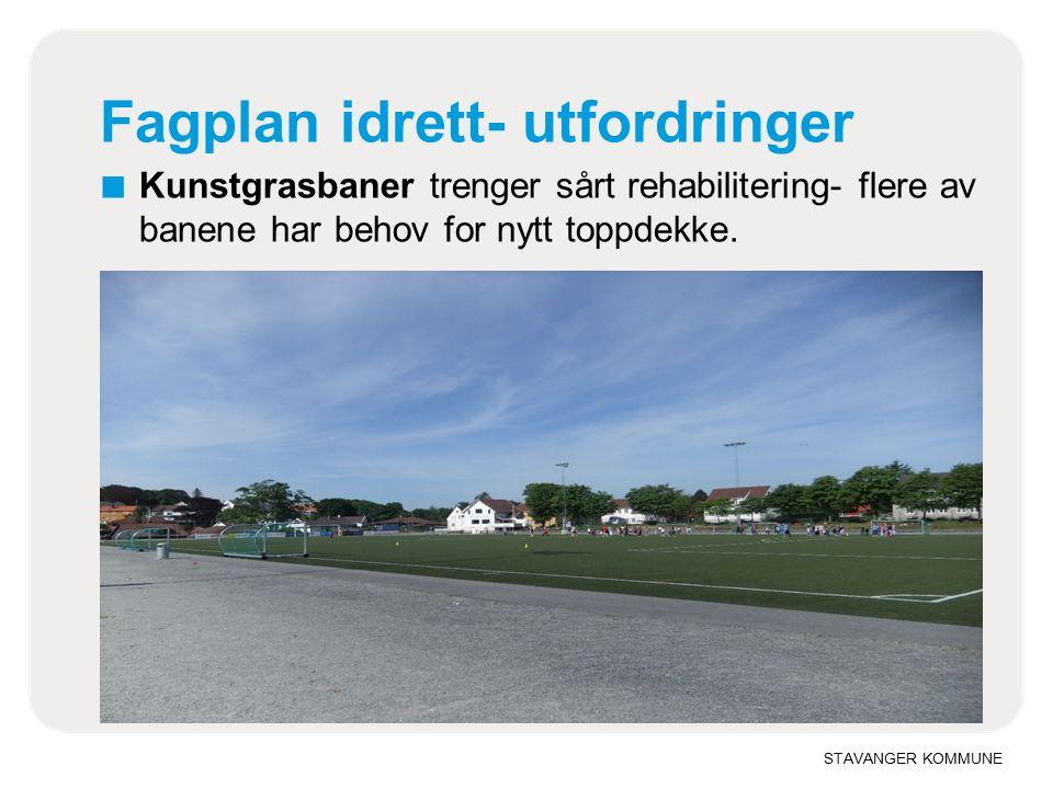 STAVANGER KOMMUNE Fagplan idrett utfordringer ■ Isflatene i Stavanger har behov for lengre is sesong for alle brukere i begge ender av sesongen og mer bruk om sommeren til andre aktiviteter.