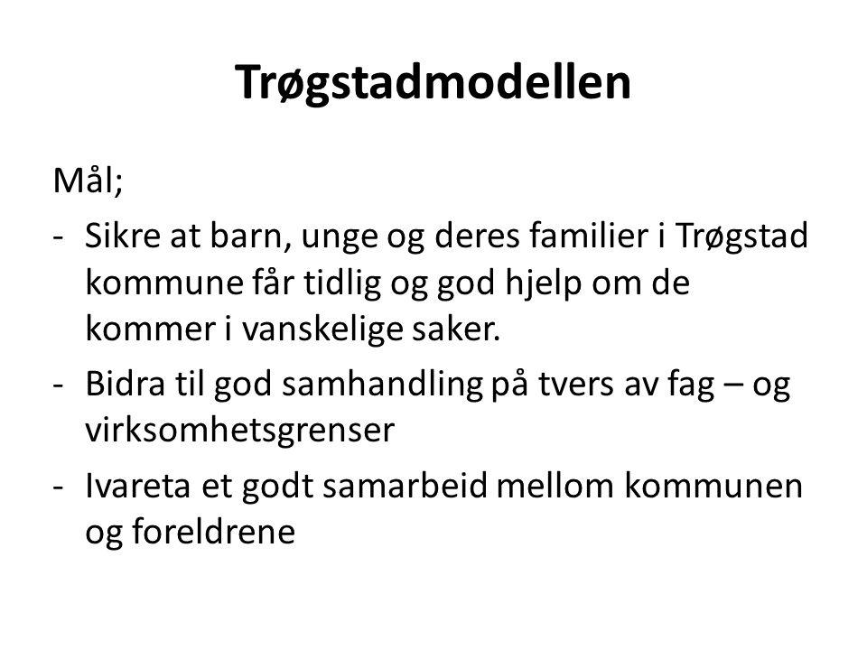 Trøgstadmodellen Mål; -Sikre at barn, unge og deres familier i Trøgstad kommune får tidlig og god hjelp om de kommer i vanskelige saker. -Bidra til go