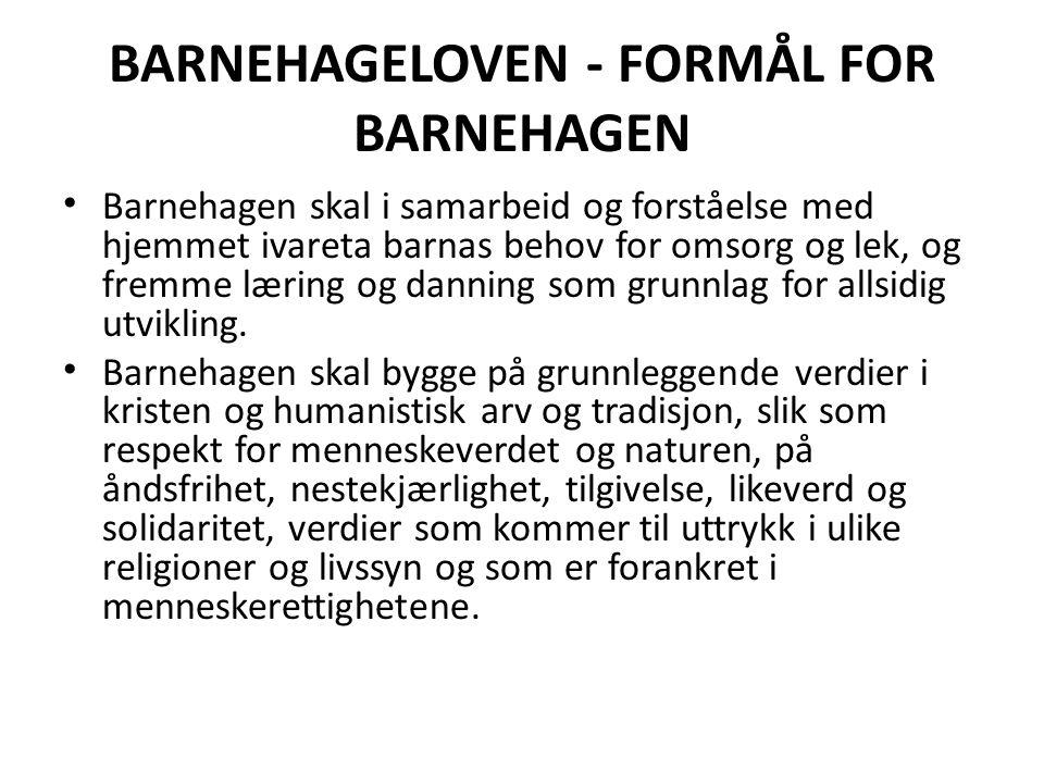 BARNEHAGELOVEN - FORMÅL FOR BARNEHAGEN Barnehagen skal i samarbeid og forståelse med hjemmet ivareta barnas behov for omsorg og lek, og fremme læring