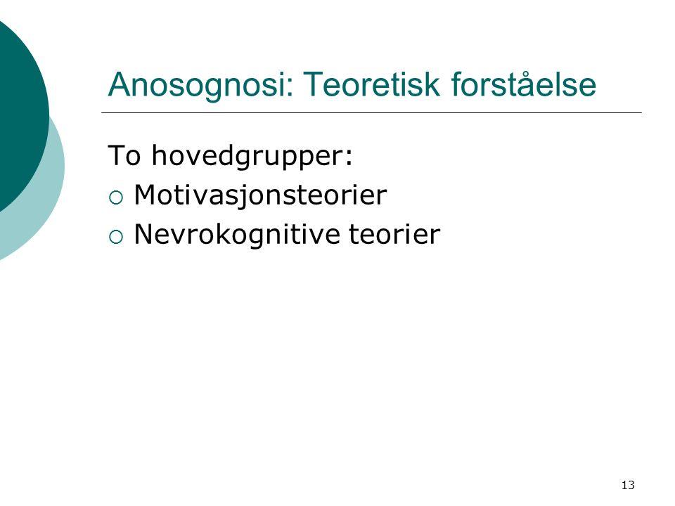 13 Anosognosi: Teoretisk forståelse To hovedgrupper:  Motivasjonsteorier  Nevrokognitive teorier