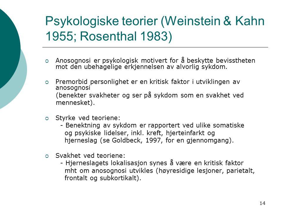 14 Psykologiske teorier (Weinstein & Kahn 1955; Rosenthal 1983)  Anosognosi er psykologisk motivert for å beskytte bevisstheten mot den ubehagelige erkjennelsen av alvorlig sykdom.