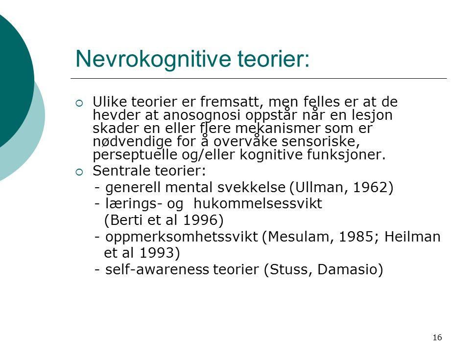 16 Nevrokognitive teorier:  Ulike teorier er fremsatt, men felles er at de hevder at anosognosi oppstår når en lesjon skader en eller flere mekanismer som er nødvendige for å overvåke sensoriske, perseptuelle og/eller kognitive funksjoner.
