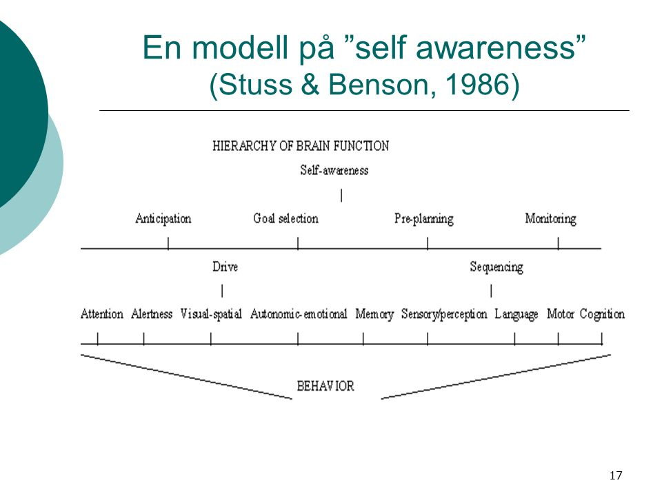 17 En modell på self awareness (Stuss & Benson, 1986)