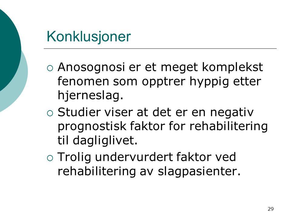 29 Konklusjoner  Anosognosi er et meget komplekst fenomen som opptrer hyppig etter hjerneslag.