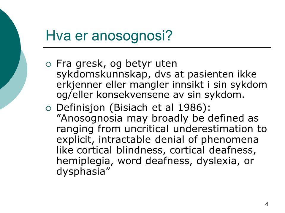 5 Anosognosi – sentrale karakteristika  Begrepet ble opprinnelig brukt til å beskrive hjerneslagpasienters manglende erkjennelse av hemiplegi, men anvendes i dag til å beskrive enhver type nevrologisk eller nevropsykologisk svekkelse.