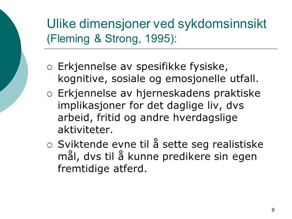 9 Prigatano (2000): 4 sentrale områder ofte affiserte ved ulike former for anosognosi  Frontalt heteromodalt syndrom: - Nedsatt innsikt i evne til planlegging, sosial bedømming, og impulskontroll.