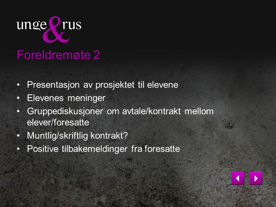 Foreldremøte 2 Presentasjon av prosjektet til elevene Elevenes meninger Gruppediskusjoner om avtale/kontrakt mellom elever/foresatte Muntlig/skriftlig
