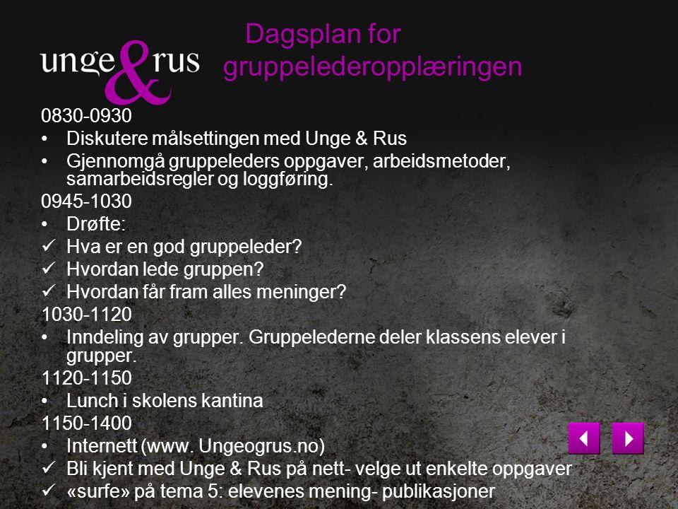 Foreldremøter Presentasjon av prosjektet «Unge & Rus».
