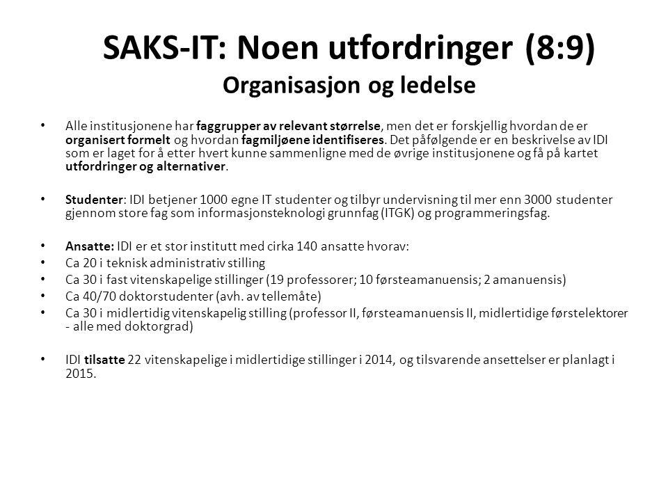 SAKS-IT: Noen utfordringer (8:9) Organisasjon og ledelse Alle institusjonene har faggrupper av relevant størrelse, men det er forskjellig hvordan de er organisert formelt og hvordan fagmiljøene identifiseres.