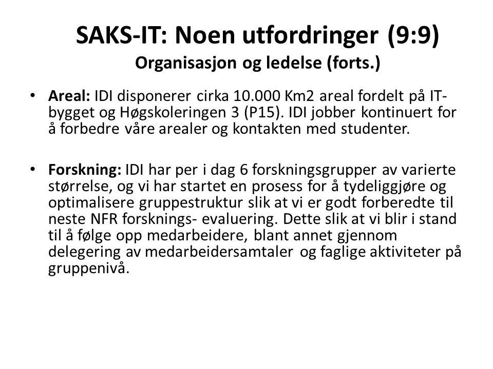 SAKS-IT: Noen utfordringer (9:9) Organisasjon og ledelse (forts.) Areal: IDI disponerer cirka 10.000 Km2 areal fordelt på IT- bygget og Høgskoleringen 3 (P15).