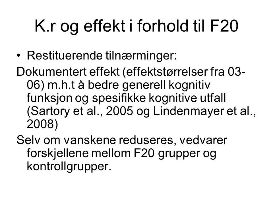 K.r og effekt i forhold til F20 Restituerende tilnærminger: Dokumentert effekt (effektstørrelser fra 03- 06) m.h.t å bedre generell kognitiv funksjon og spesifikke kognitive utfall (Sartory et al., 2005 og Lindenmayer et al., 2008) Selv om vanskene reduseres, vedvarer forskjellene mellom F20 grupper og kontrollgrupper.