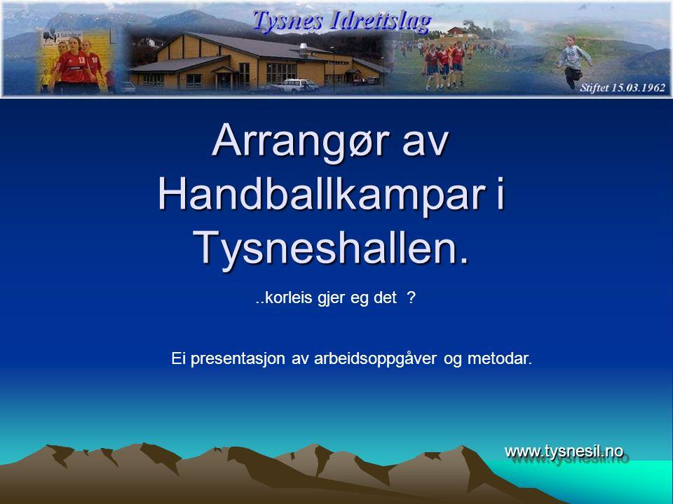 Arrangør av Handballkampar i Tysneshallen. www.tysnesil.nowww.tysnesil.no..korleis gjer eg det ? Ei presentasjon av arbeidsoppgåver og metodar.