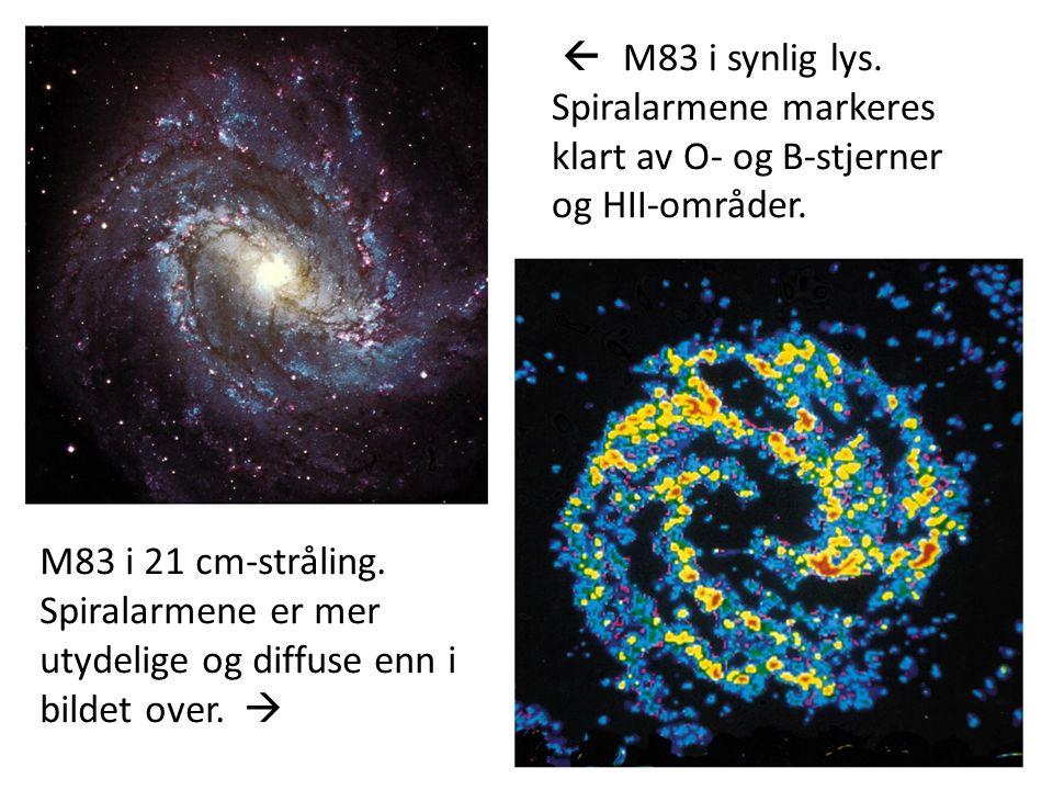 17  M83 i synlig lys. Spiralarmene markeres klart av O- og B-stjerner og HII-områder.