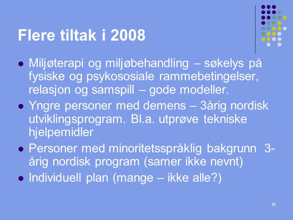 10 Flere tiltak i 2008 Miljøterapi og miljøbehandling – søkelys på fysiske og psykososiale rammebetingelser, relasjon og samspill – gode modeller.