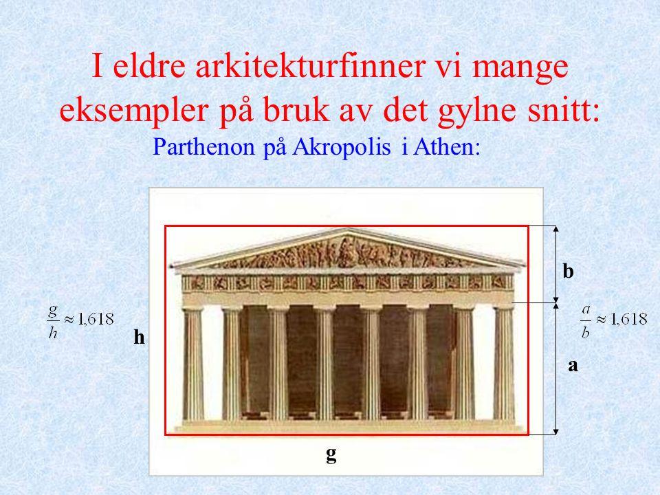 I eldre arkitekturfinner vi mange eksempler på bruk av det gylne snitt: Parthenon på Akropolis i Athen: h a b g