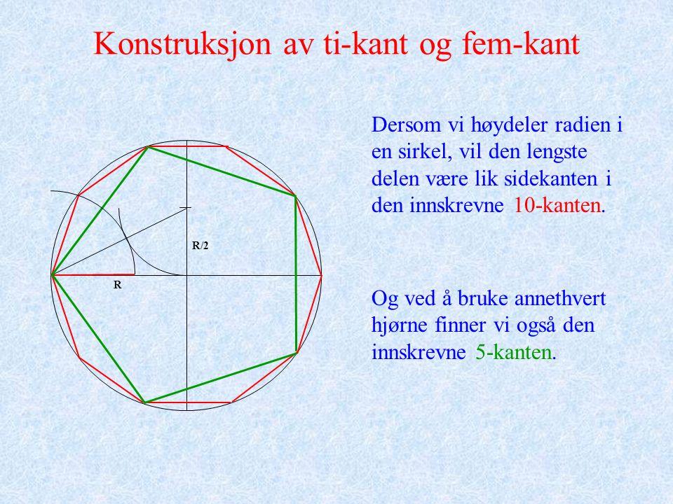 Konstruksjon av ti-kant og fem-kant Dersom vi høydeler radien i en sirkel, vil den lengste delen være lik sidekanten i den innskrevne 10-kanten.