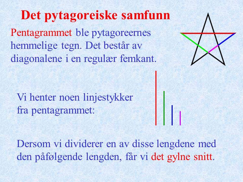 Det pytagoreiske samfunn Pentagrammet ble pytagoreernes hemmelige tegn. Det består av diagonalene i en regulær femkant. Vi henter noen linjestykker fr