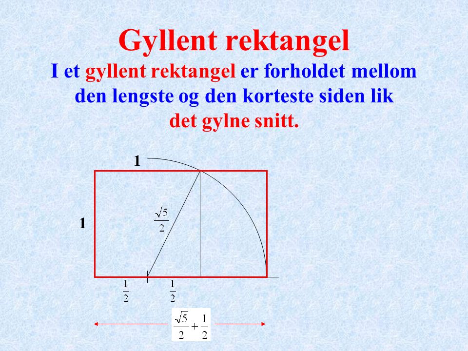 Gyllent rektangel I et gyllent rektangel er forholdet mellom den lengste og den korteste siden lik det gylne snitt. 1 1