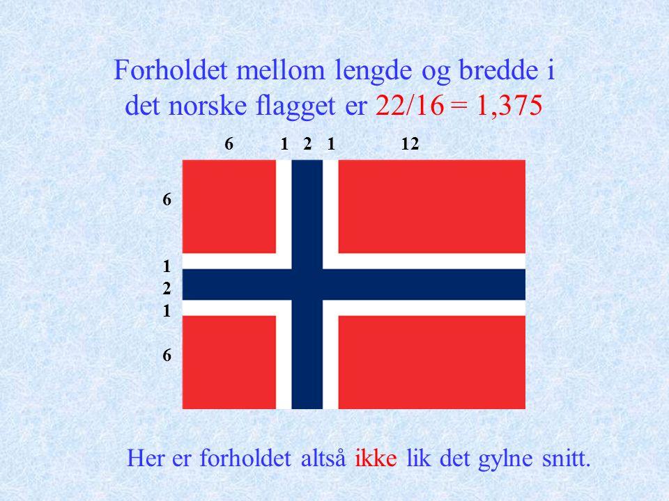 Forholdet mellom lengde og bredde i det norske flagget er 22/16 = 1,375 6 1 2 1 12 6121661216 Her er forholdet altså ikke lik det gylne snitt.