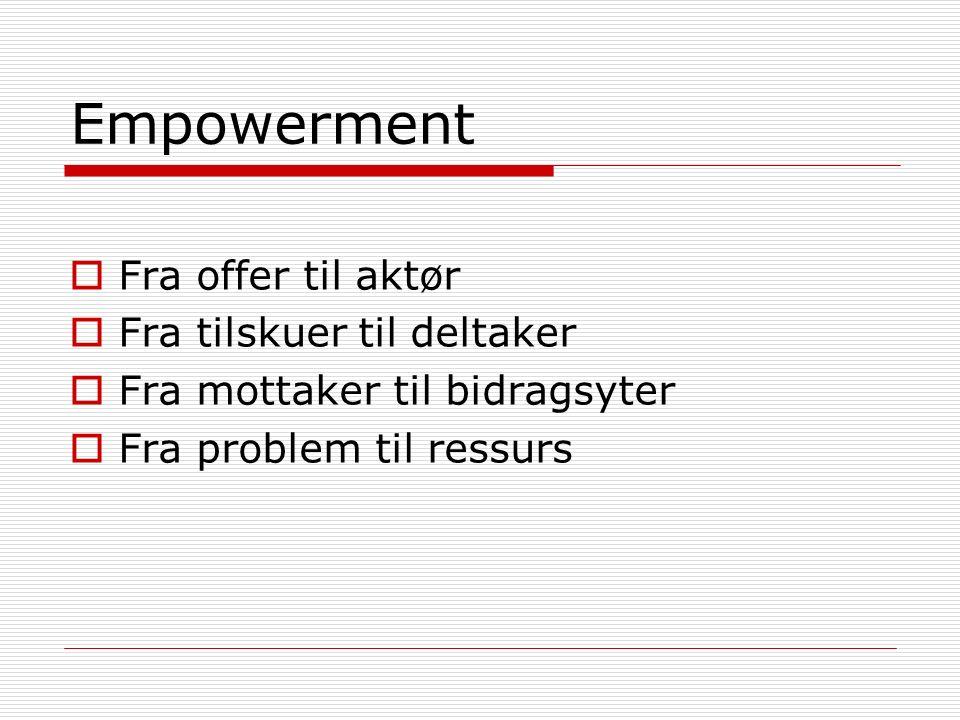 Empowerment  Fra offer til aktør  Fra tilskuer til deltaker  Fra mottaker til bidragsyter  Fra problem til ressurs