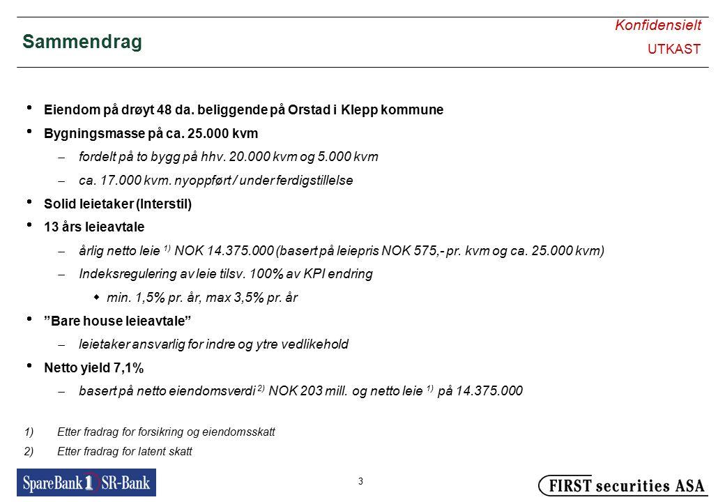 Konfidensielt UTKAST 3 Sammendrag  Eiendom på drøyt 48 da. beliggende på Orstad i Klepp kommune  Bygningsmasse på ca. 25.000 kvm  fordelt på to byg