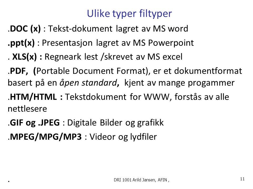 Ulike typer filtyper.DOC (x) : Tekst-dokument lagret av MS word.ppt(x) : Presentasjon lagret av MS Powerpoint.