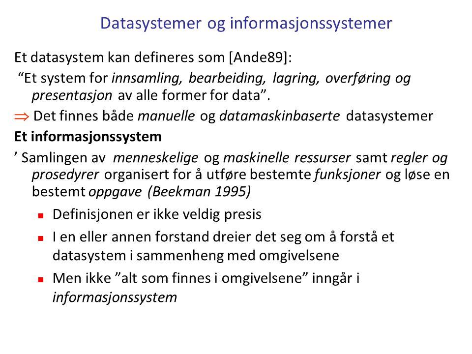 Datasystemer og informasjonssystemer Et datasystem kan defineres som [Ande89]: Et system for innsamling, bearbeiding, lagring, overføring og presentasjon av alle former for data .