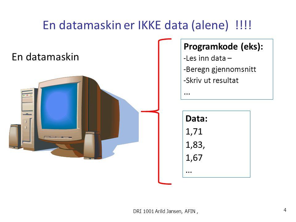 En datamaskin er IKKE data (alene) !!!.