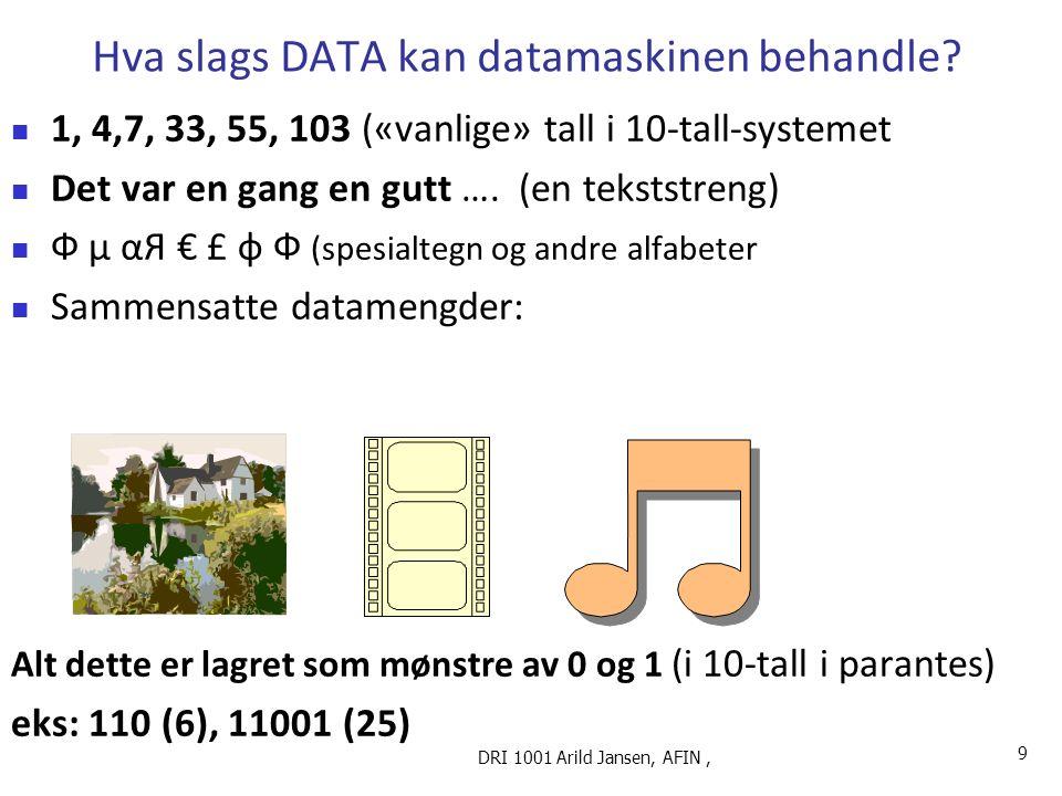 Ulike typer dataelementer, Bit : 0 eller 1 (basiselementet) Tegn : 0-9, små/store bokstaver, spesial-tegn,..