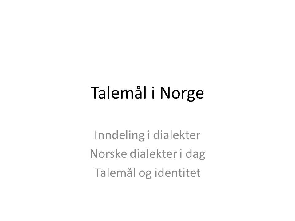 Talemål i Norge Inndeling i dialekter Norske dialekter i dag Talemål og identitet